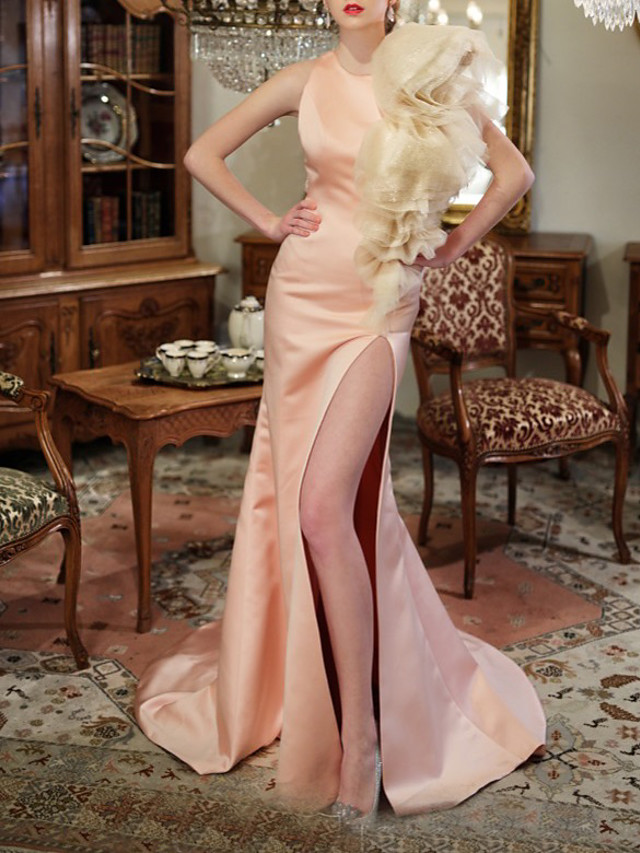 Mermaid / Trumpet Sexy Floral Engagement Prom Dress Jewel Neck Sleeveless Sweep / Brush Train Satin with Ruffles Split 2021
