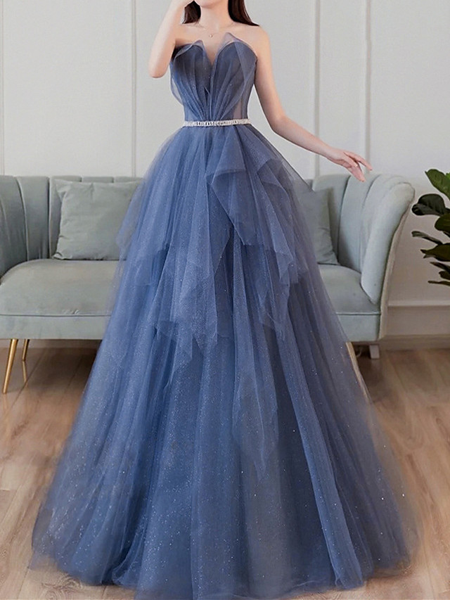 A-Line Glittering Elegant Prom Formal Evening Dress Sweetheart Neckline Sleeveless Floor Length Tulle with Sash / Ribbon Pleats Tier 2021