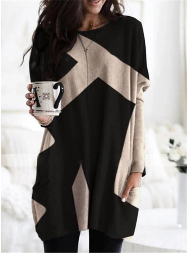 Women's Shift Dress Short Mini Dress Long Sleeve Color Block Patchwork Print Fall Winter Casual 2021 Red Khaki Dark Gray Brown S M L XL XXL 3XL