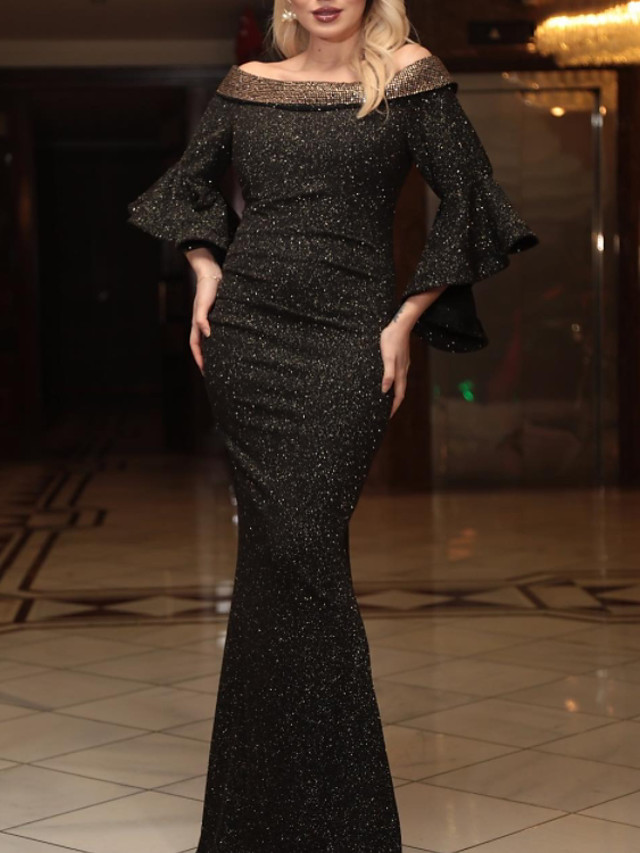 Mermaid / Trumpet Sparkle Sexy Engagement Formal Evening Dress Off Shoulder Half Sleeve Floor Length Sequined with Sequin 2020
