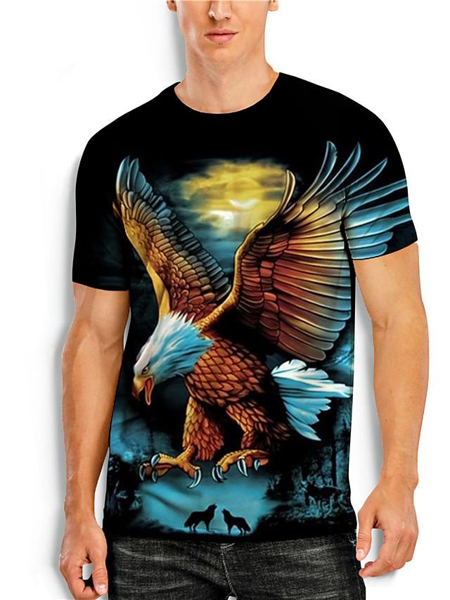 Men's T shirt Shirt 3D Print Graphic Animal Plus Size Print Short Sleeve Daily Tops Basic Casual Round Neck Blue Black Orange / Summer