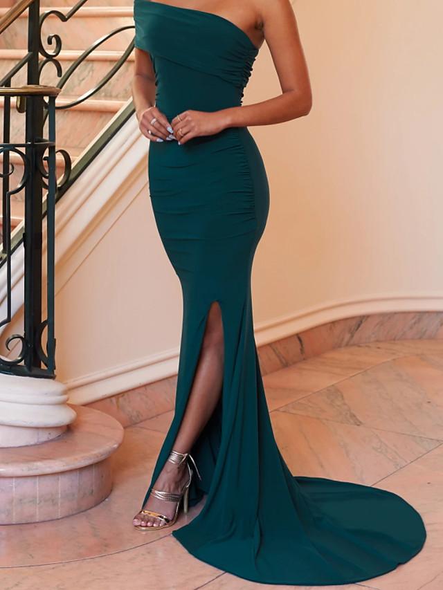 Mermaid / Trumpet Minimalist Sexy Wedding Guest Formal Evening Dress One Shoulder Sleeveless Sweep / Brush Train Spandex with Sleek Split 2021