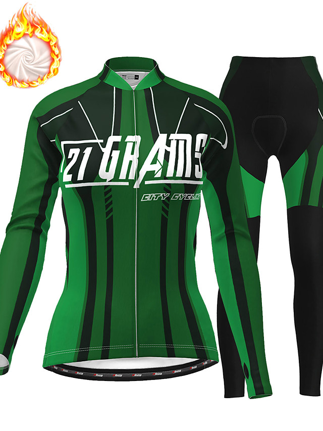 21Grams Women's Long Sleeve Cycling Jersey with Tights Winter Fleece Polyester Green Bike Clothing Suit Thermal Warm Fleece Lining 3D Pad Warm Quick Dry Sports Graphic Mountain Bike MTB Road Bike