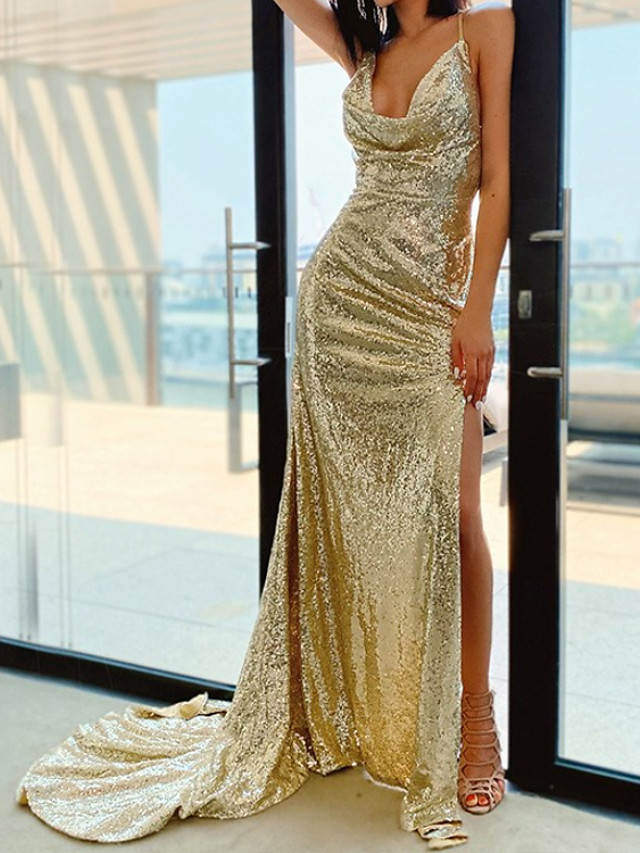 Mermaid / Trumpet Sparkle Sexy Wedding Guest Formal Evening Dress Scoop Neck Sleeveless Court Train Sequined with Sequin Split 2020
