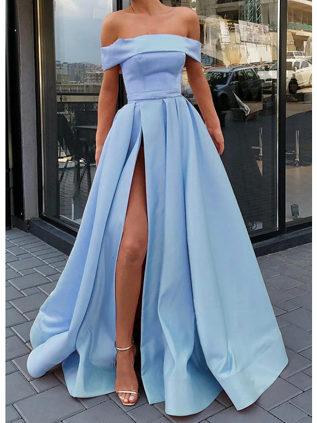 A-Line Minimalist Sexy Engagement Prom Dress Off Shoulder Sleeveless Floor Length Satin with Split 2021