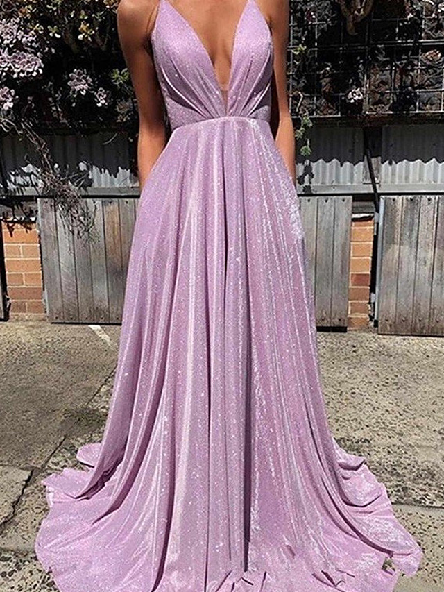 A-Line Beautiful Back Sexy Wedding Guest Formal Evening Dress V Neck Sleeveless Sweep / Brush Train Sequined with Pleats 2021