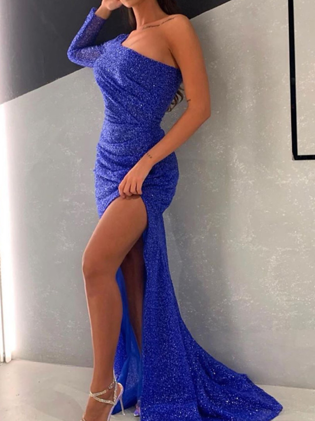 Mermaid / Trumpet Sparkle Sexy Engagement Formal Evening Dress One Shoulder Long Sleeve Sweep / Brush Train Sequined with Sequin Split 2021