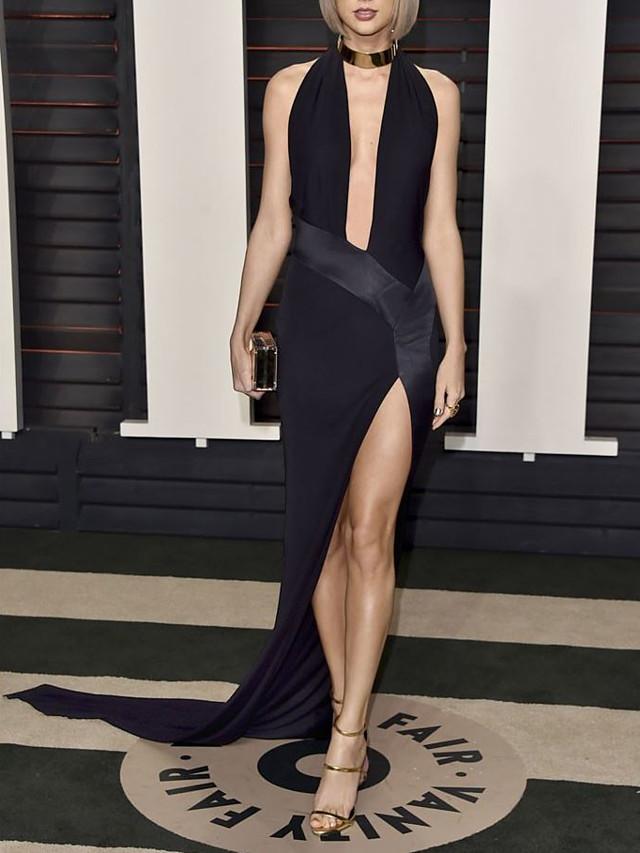 Sheath / Column Celebrity Style Sexy Prom Formal Evening Dress V Neck Sleeveless Asymmetrical Spandex with Split 2021