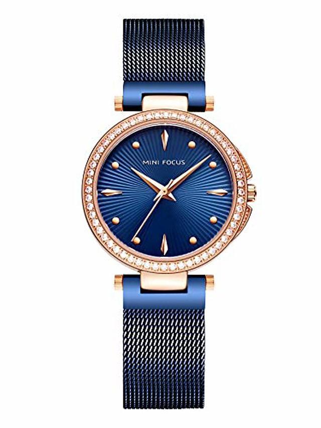 Women's Simple Blue Mesh Strap Quartz Watches Luxury Ultra Thin Dress Wristwatch for Lady Woman