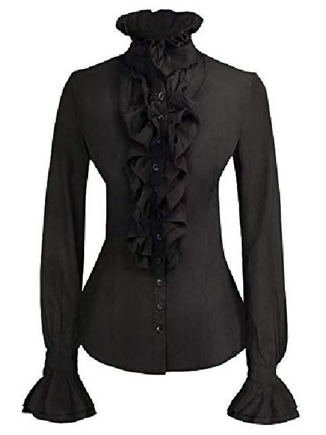 Women Victorian Gothic Lotus Ruffle Shirts Blouse Stand-up Collar Black 2XL