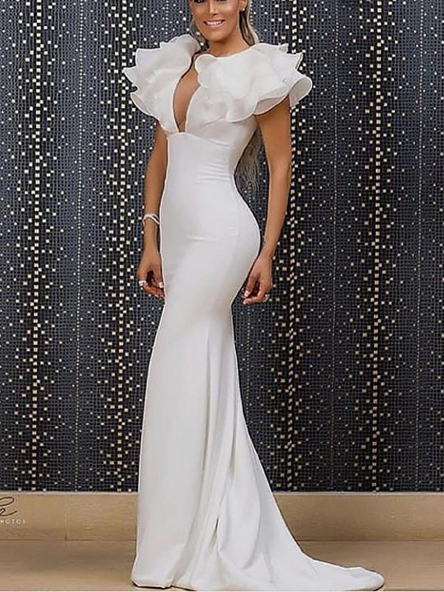 Mermaid / Trumpet Minimalist Sexy Engagement Formal Evening Dress V Neck Short Sleeve Sweep / Brush Train Organza Stretch Satin with Sleek 2021