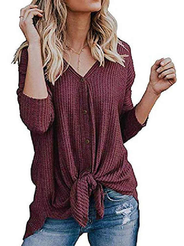 Women's S-3XL Ultra Soft Bat Wing Blouse Casual Button Down Thermal Tops Rustred S