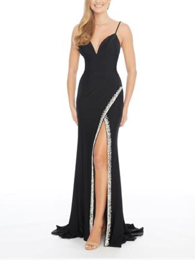 Sheath / Column Beautiful Back Sexy Engagement Formal Evening Dress V Neck Sleeveless Sweep / Brush Train Spandex with Split 2020