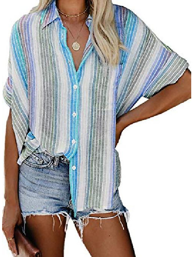 Womens Button Down Shirt Ladies Work Summer Short Sleeve Tunic Blouse and Tops Plus Size X-Large Sky Blue