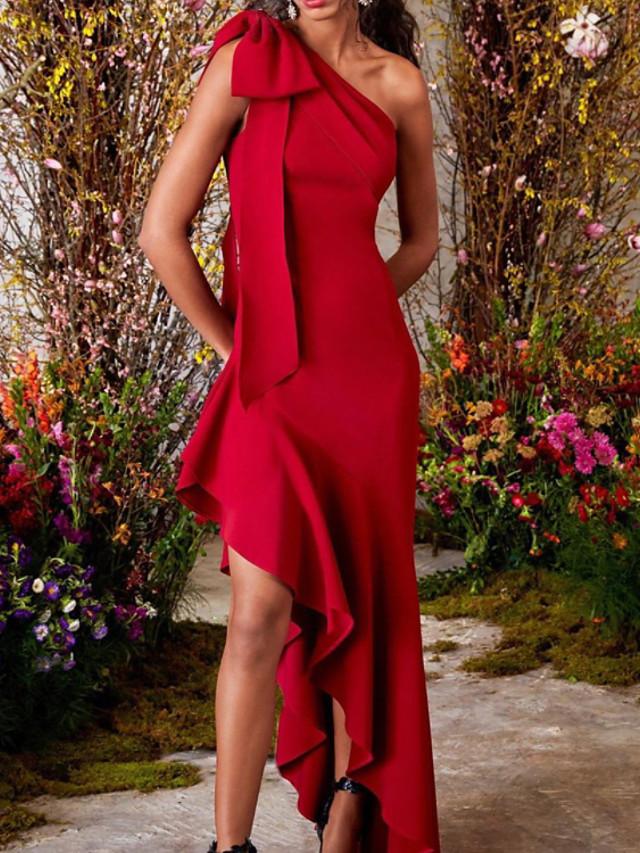Sheath / Column Minimalist Sexy Engagement Formal Evening Dress One Shoulder Sleeveless Asymmetrical Satin with Bow(s) 2021