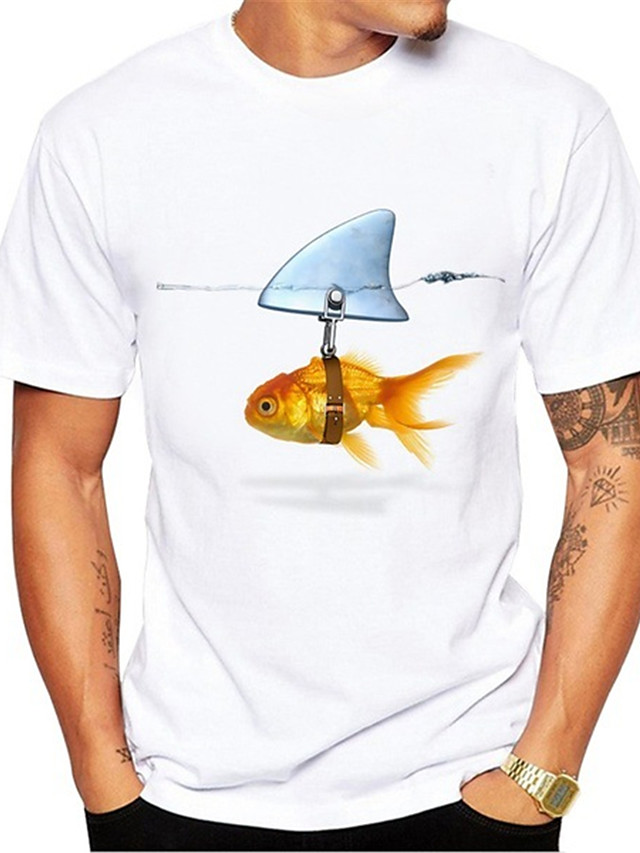 Men's T shirt 3D Print Graphic Fish Animal Print Short Sleeve Daily Tops Casual Cute White