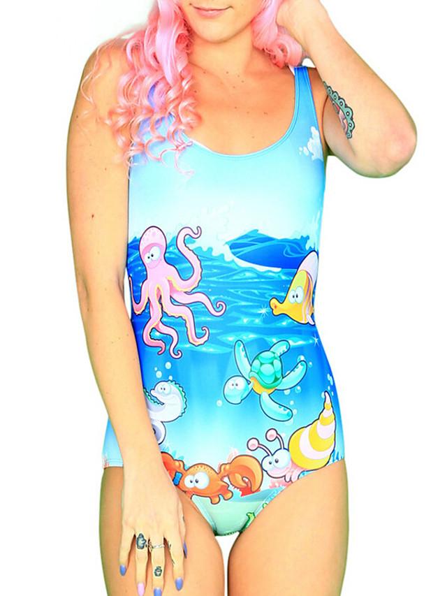 Women's New Colorful Lady Monokini Swimsuit Geometric Tummy Control Open Back Slim Bodysuit Normal Strap Swimwear Bathing Suits Light Blue / One Piece / Party / Print