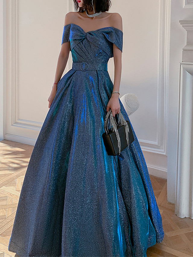 A-Line Beautiful Back Sparkle Prom Formal Evening Dress Off Shoulder Sleeveless Floor Length Sequined with Sash / Ribbon Pleats Sequin 2021