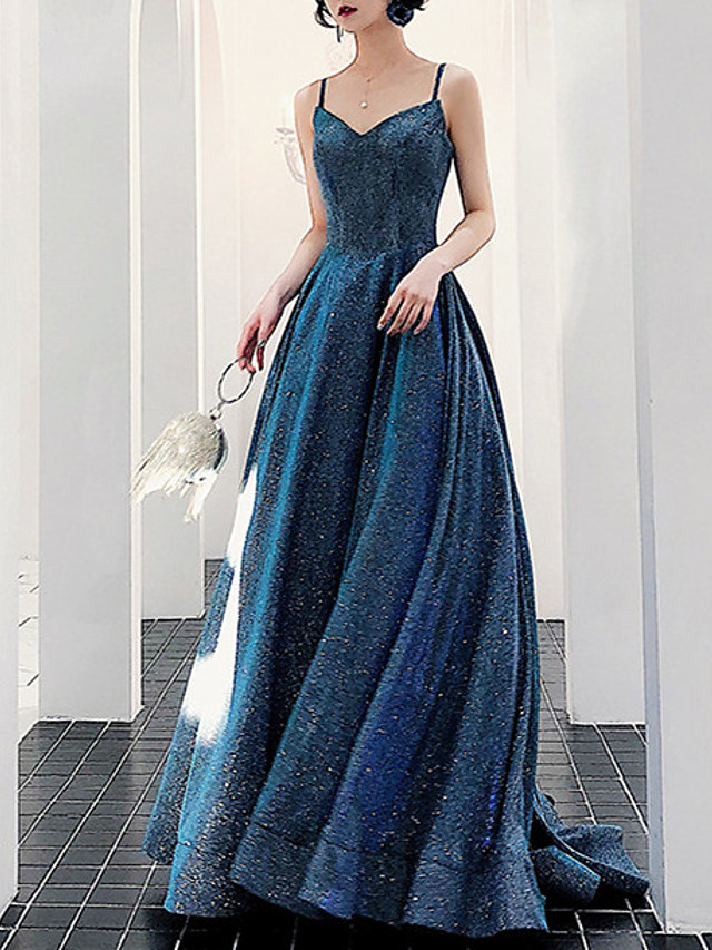 A-Line Sparkle Sexy Prom Formal Evening Dress Spaghetti Strap Sleeveless Court Train Sequined with Pleats Sequin 2021