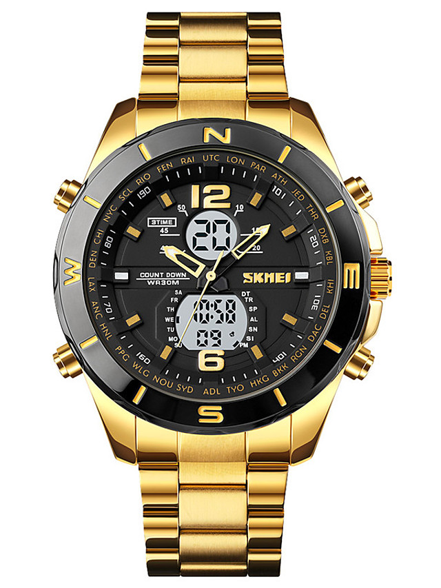 SKMEI Men's Sport Watch Digital Sporty Outdoor Calendar / date / day Chronograph LED Light Analog - Digital Black / Silver Black+Gloden White+Golden / One Year / Stainless Steel / Three Time Zones
