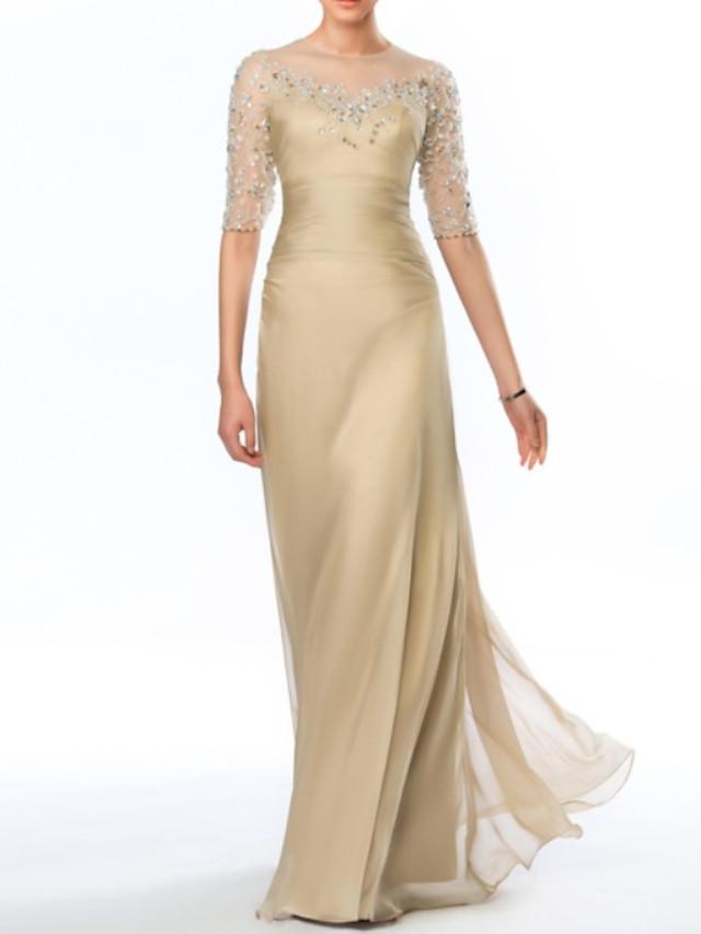 Sheath / Column Empire Elegant Wedding Guest Formal Evening Dress Illusion Neck Half Sleeve Floor Length Taffeta Tulle with Crystals 2021