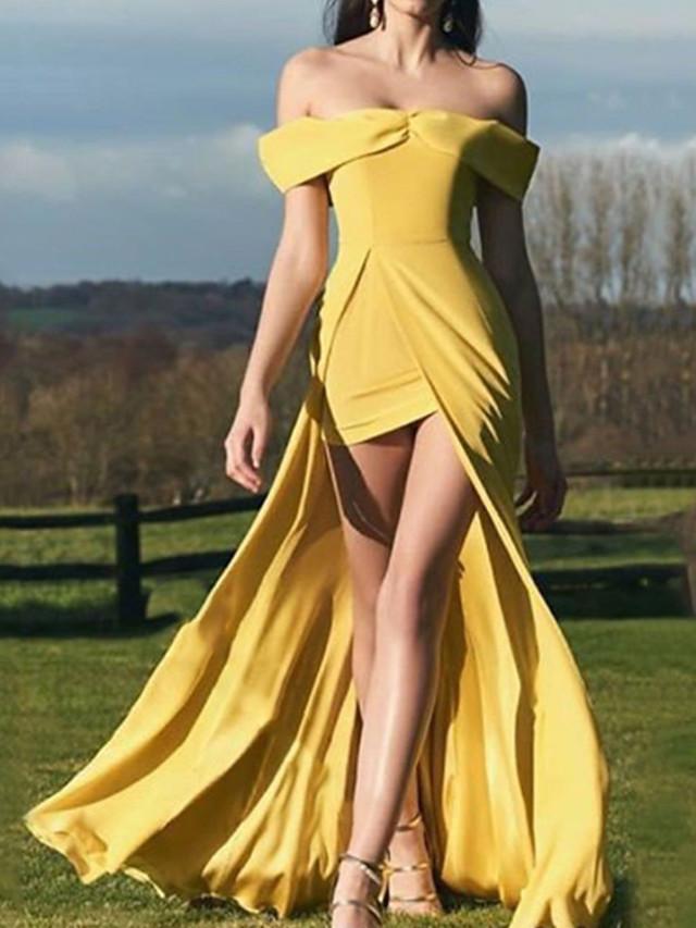 Sheath / Column Minimalist Sexy Engagement Formal Evening Dress Off Shoulder Sleeveless Asymmetrical Satin with Split 2021