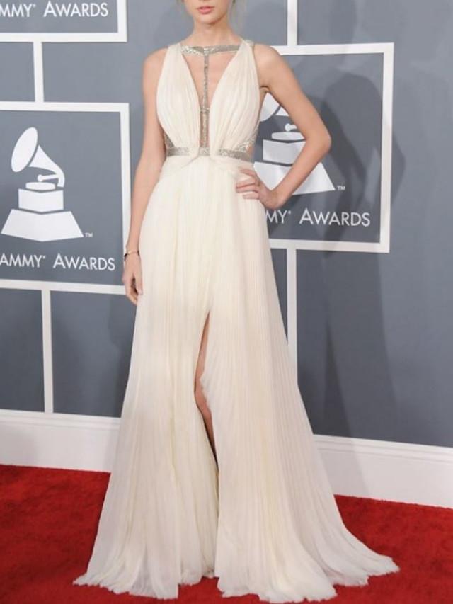 A-Line Celebrity Style Sexy Prom Formal Evening Dress V Neck Sleeveless Floor Length Chiffon with Pleats Split 2020