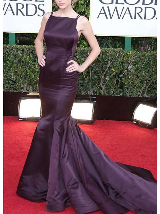 Mermaid / Trumpet Celebrity Style Elegant Prom Formal Evening Dress Spaghetti Strap Sleeveless Court Train Satin with Pleats 2021