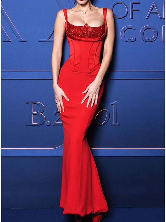 Mermaid / Trumpet Celebrity Style Sexy Wedding Guest Formal Evening Dress Scoop Neck Sleeveless Floor Length Spandex with Sequin 2021