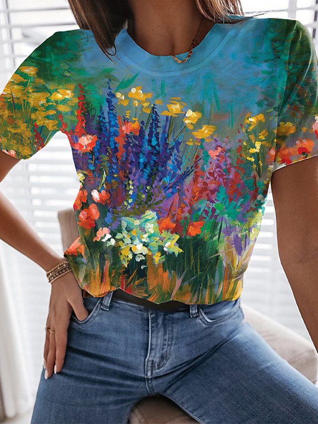 Women's Floral Theme Painting T shirt Floral Graphic Print Round Neck Basic Tops Blue