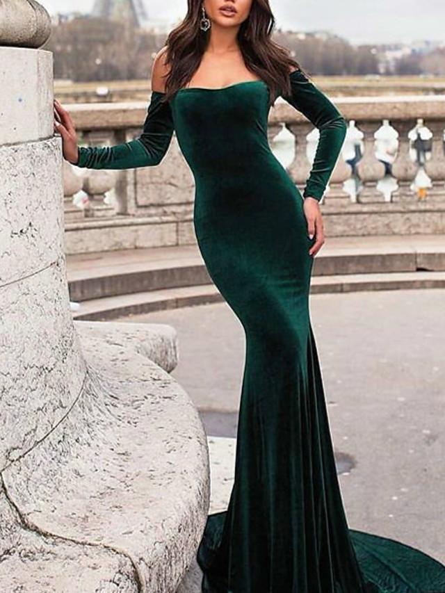 Mermaid / Trumpet Sexy bodycon Wedding Guest Formal Evening Dress Off Shoulder Long Sleeve Chapel Train Velvet with Sleek 2021