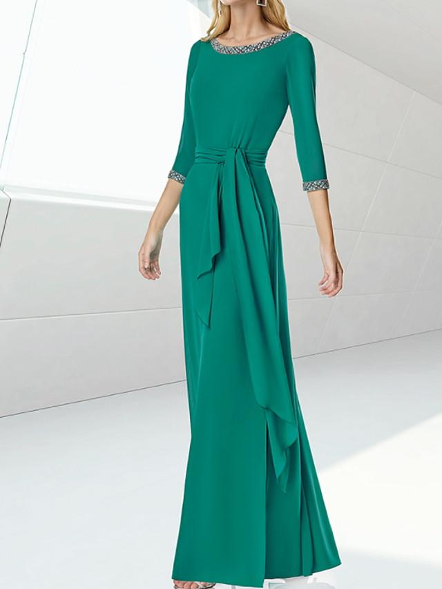 Sheath / Column Minimalist Elegant Engagement Formal Evening Dress Jewel Neck 3/4 Length Sleeve Floor Length Silk with Sash / Ribbon 2021