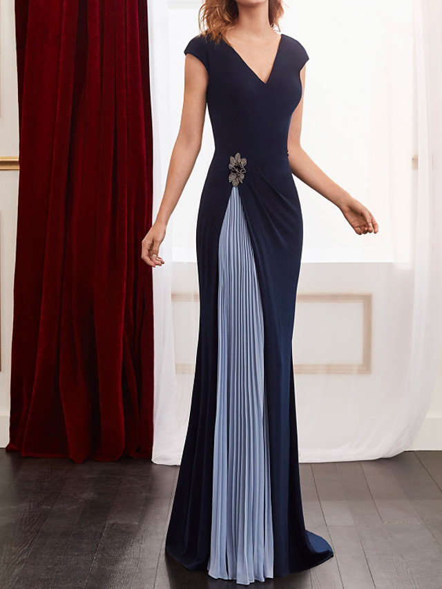 Sheath / Column Color Block Elegant Wedding Guest Formal Evening Dress V Neck Sleeveless Floor Length Spandex Chiffon with Pleats Beading 2021
