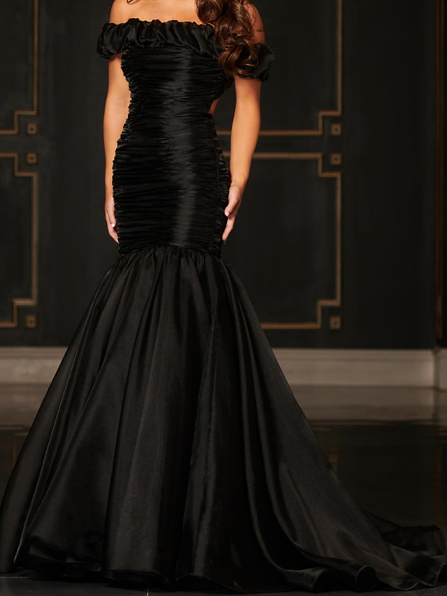 Mermaid / Trumpet Beautiful Back Sexy Engagement Formal Evening Dress Off Shoulder Sleeveless Sweep / Brush Train Organza with Pleats Ruched 2021