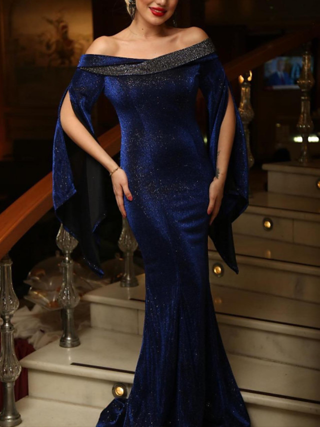 Mermaid / Trumpet Glittering Sexy Wedding Guest Formal Evening Dress Off Shoulder Long Sleeve Sweep / Brush Train Velvet with Sleek 2020