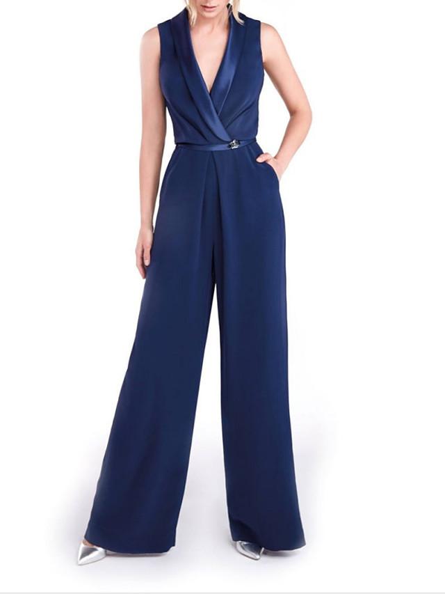 Jumpsuits Minimalist Elegant Engagement Formal Evening Dress V Neck Sleeveless Floor Length Stretch Satin with Sash / Ribbon 2021