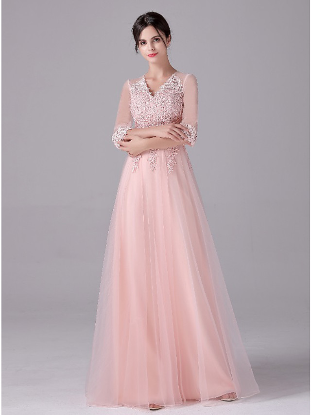 A-Line Empire Elegant Wedding Guest Formal Evening Dress V Neck Half Sleeve Floor Length Tulle with Sash / Ribbon Appliques 2021