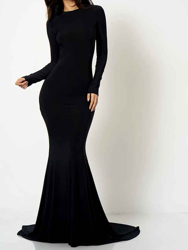 Mermaid / Trumpet Beautiful Back Sexy Engagement Formal Evening Dress Jewel Neck Long Sleeve Court Train Spandex with Sleek 2021