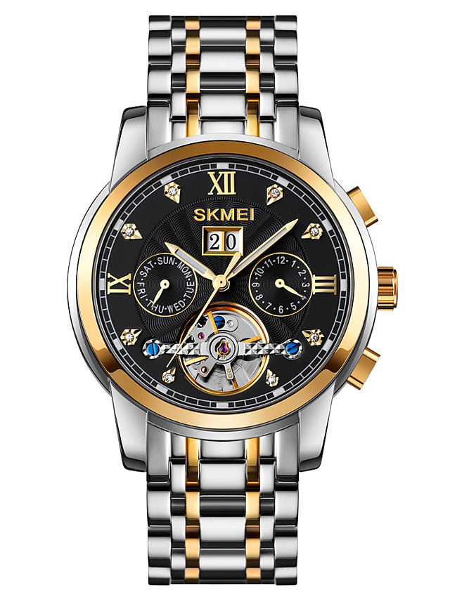 SKMEI Men's Mechanical Watch Automatic self-winding Formal Style Calendar / date / day Analog Black Blue Gold / One Year / Stainless Steel