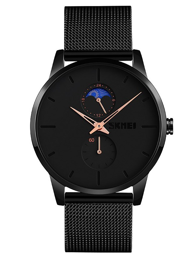 SKMEI Men's Steel Band Watches Quartz Modern Style Moon Phase Analog Rose Gold Black Blue / One Year / Stainless Steel