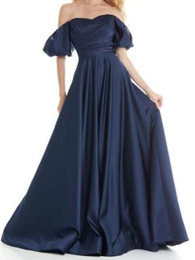 A-Line Minimalist Elegant Engagement Formal Evening Dress Off Shoulder Short Sleeve Sweep / Brush Train Satin with Pleats 2021