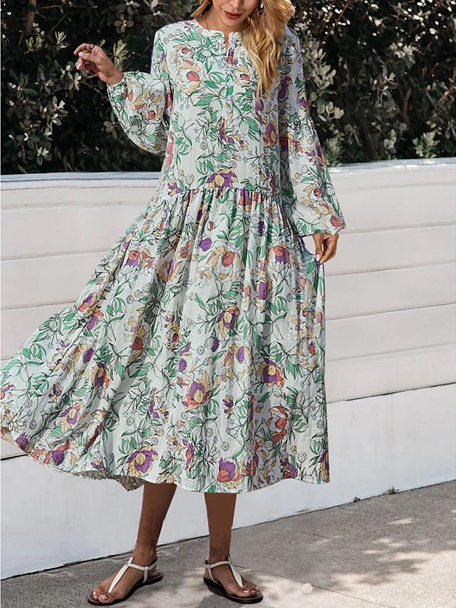Women's A Line Long Sleeve Round Neck Floral Print Midi Dress