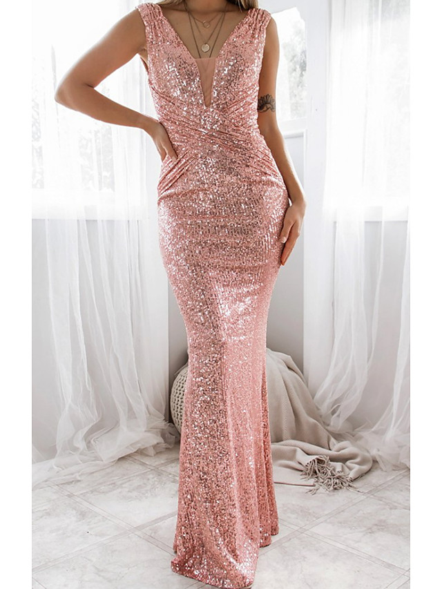 Sheath / Column Glittering Sexy Wedding Guest Formal Evening Dress Scoop Neck Sleeveless Floor Length Sequined with Ruched Sequin 2021