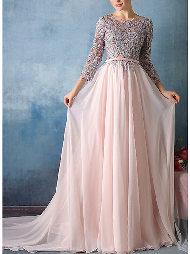 Sheath / Column Elegant Floral Engagement Formal Evening Dress Jewel Neck 3/4 Length Sleeve Court Train Chiffon with Sash / Ribbon Appliques 2021