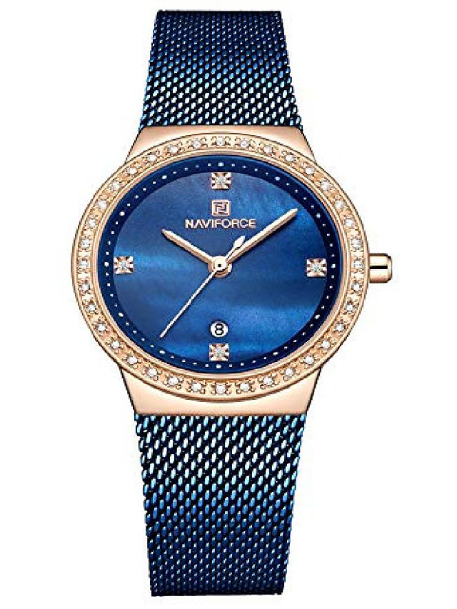 brand watch women fashion casual waterproof quartz ladies dress watches mesh belt wrist watches (blue)