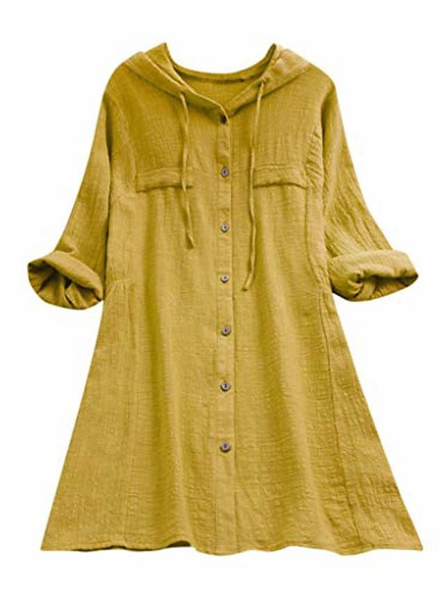 Plus Size Cotton Linen Lattice Splice Button Shirt,Womens Loose Hooded Drawstring Tops Blouse with Pocket (Yellow,Large)
