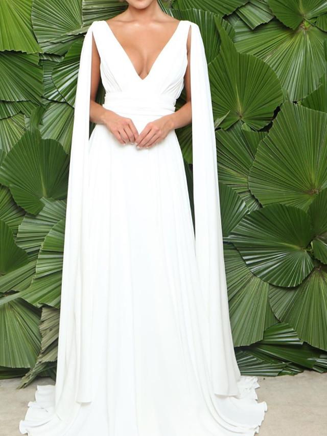 A-Line Minimalist Elegant Engagement Formal Evening Dress V Neck Sleeveless Sweep / Brush Train Chiffon with Pleats 2021