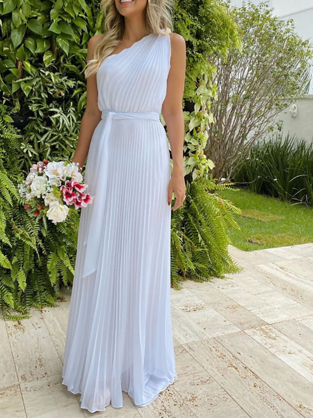 A-Line Minimalist Elegant Engagement Formal Evening Dress One Shoulder Sleeveless Floor Length Chiffon with Pleats 2021