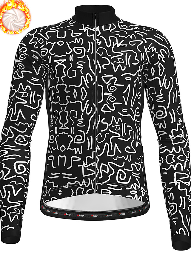 21Grams Men's Long Sleeve Cycling Jacket Winter Fleece Polyester Black Geometic Bike Jacket Top Mountain Bike MTB Road Bike Cycling Thermal Warm Fleece Lining Breathable Sports Clothing Apparel