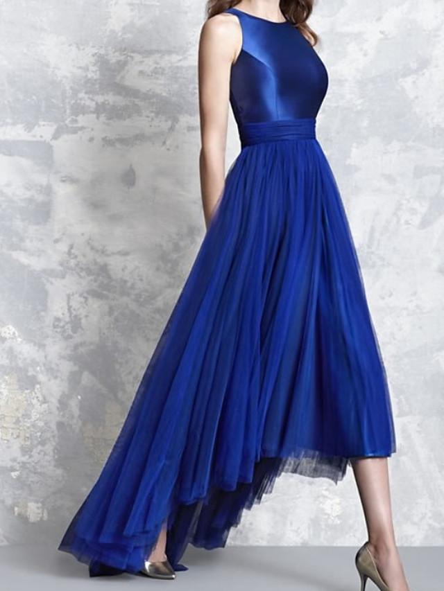 A-Line Minimalist Elegant Wedding Guest Formal Evening Dress Jewel Neck Sleeveless Asymmetrical Satin Tulle with Pleats 2021